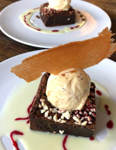 Belgian-chocolate-brownie-with-homemade-nougat-ice-cream